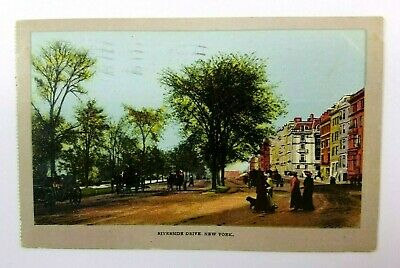 1907 Riverside Drive New York Postcard American View Street Scene To Tully NY