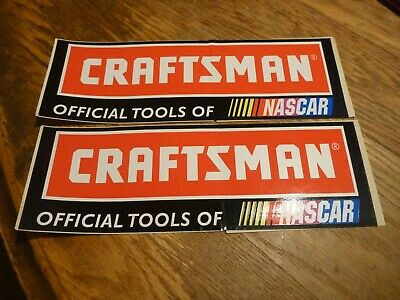 Set of 2 CRAFTSMAN OFFICIAL TOOLS OF NASCAR Bumper Stickers Unused 9 x 3 Inches