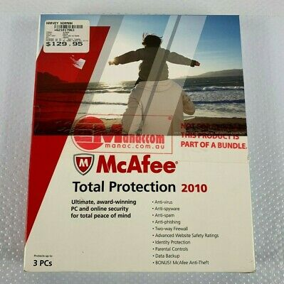 New McAfee Total Protection 2010 1 PC (old Version) - Windows 7 Compatible