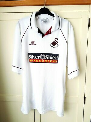 Swansea City Home Shirt 1998. Large White Adults Short Sleeves Football Top Only