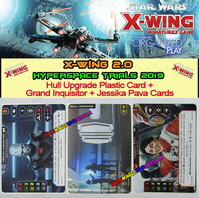 STAR WARS X-WING 2.0 -HYPERSPACE TRIAL PROMOS Hull Upgrade Plastic Card + Cards