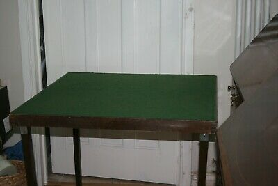 Green Folding Card Table - Thirty Inches Green Baize Square Top