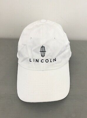 Lincoln Ford Motor Company Logo Embroidered Adjustable Baseball Hat Cap White