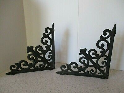 "2 Vintage Cast Iron  Wall Brackets, Victorian ""Gingerbread"" Style, 8"" X 8"", Vg"
