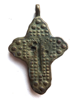 Ancient Bronze Late Byzantine Cross Crucifix Pendant 2""