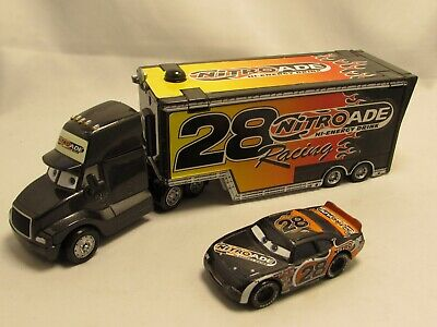 Disney Pixar Cars Nitroade Hauler Truck Diecast Cab Racing Team Bundle Number 28