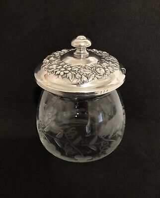 S. Kirk & Son Sterling Silver Etched Glass Sugar Bowl and Lid Repousse ~ Antique