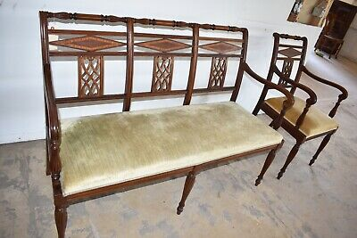 Antique Mahogany High End Matching Upholstered Bench Settee Arm Chair Vintage