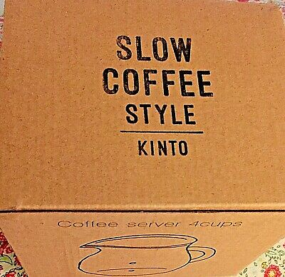 New Kinto Slow Coffee Style Heat-Resistant Glass Coffee Server 4-Cup Handle NWT