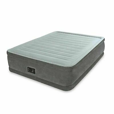 Intex Queen Comfort Plush Elevated Mattress Air bed with Built-In Pump, Gray