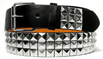 Silver Metal Studs Black Leather Belt With Removable Buckle - S M L Xl