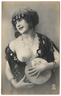 1910s Nude French RPPC Real Photo Postcard Busty Gypsy Girl with a Tambourine PC