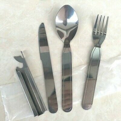 Military Stainless Steel Camping Cutlery Knife Fork Spoon Tin Opener Clip Set