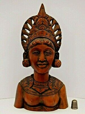Hand Carved & Signed Vintage Wood Bust of Hindu Goddess Devi from Bali Indonesia