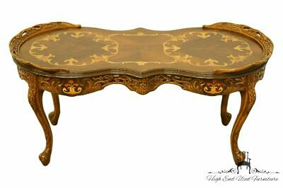 """1920's French Provincial Louis XVI Ornately Carved 41"""" Accent Coffee Table w...."""