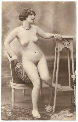 Vintage 1910s Nude French RPPC Real Photo Postcard Curvaceous Alluring Model ER