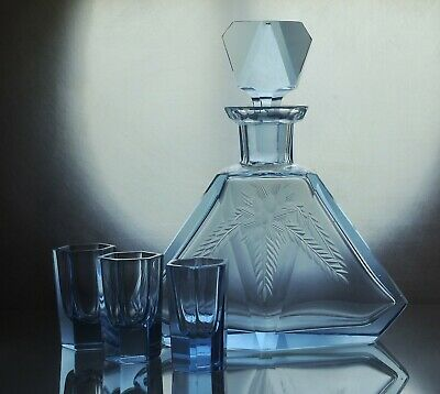 Art Deco Bohemian Faceted Sapphire Blue Glass Decanter/ Carafe & 3 short glasses