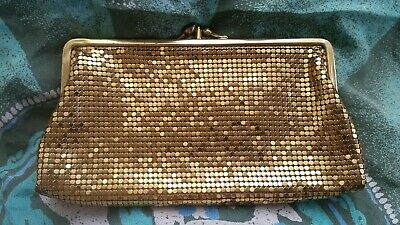 WHITING & DAVIS vintage small mesh cocktail purse/clutch - Gold
