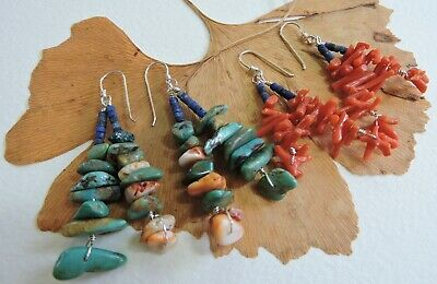 Red Branch Coral Natural Lapis Turquoise Sterling Silver Earrings