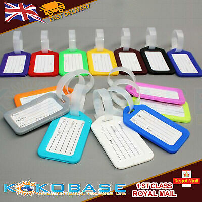 10 PCs LUGGAGE ID TAGS Suit Colourful Label Name Address Suitcase Sign Nameplate