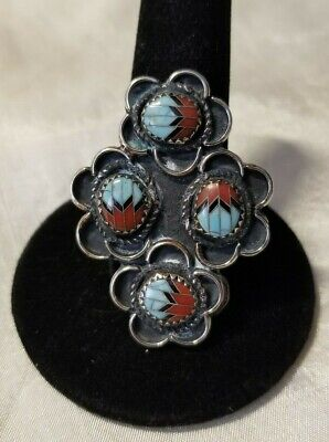 Navajo Sterling Silver  Multi- Stone Large Face Ring Size 10 1/2 Signed GN