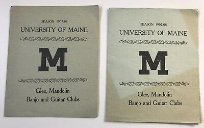 University of Maine Glee Mandolin Banjo & Guitar Clubs Concert Program 1907-1908