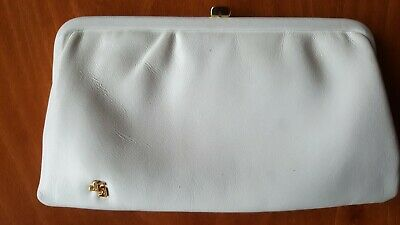 Jane Shilton Vintage white leather clutch bag with gold clasp  70s 80s
