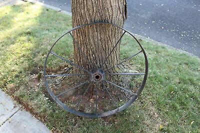Antique Wagon Wheel Tractor Automobile #1 12 Spokes 32 Inches Tall Farm Decor