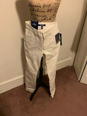 Women's Chaps Twill Midrise Straight-Leg Natural Pants Reg. $59