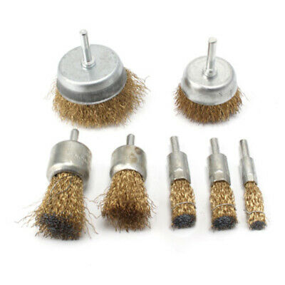 7Pc Rotary Wire Wheel Set Brush Cup 6mm Shank Rust Paint Weld Removal Grinder