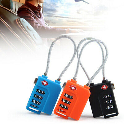1pc 3 Dial Combination Luggage Padlock Travel Suitcase Flexible Wire Lock Tool