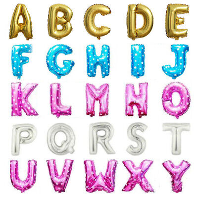 """Gold &Silver 16"""" Alphabet Letter Number A-Z Foil Balloons NAME PARTY WEDDING"""