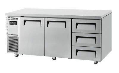 Turbo Air Undercounter 2 Door 3 Drawer Side Prep Table Chiller - 538L Capacity