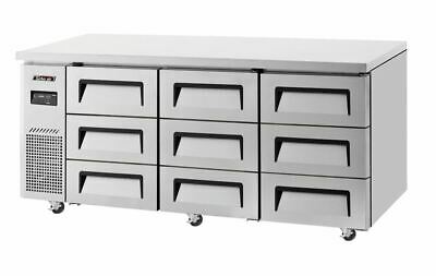 Turbo Air Undercounter 9 Drawer Side Prep Table Refrigerator - 538 L