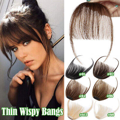 Thin Neat Air Bangs Clip in on Fringe Remy Human Hair Extensions Front Hairpiece