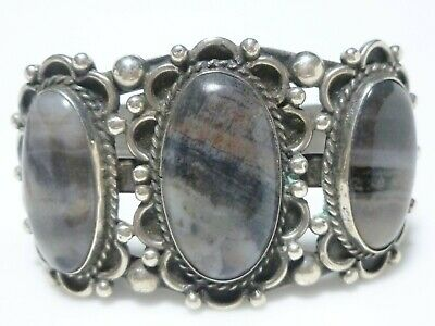 Navajo Sterling Silver Petrified Wood Old Pawn Excellent Large Cuff Bracelet