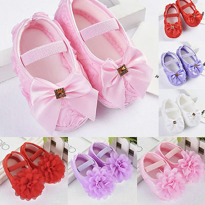 Clever Baby Girls Newborn Toddler's Sneakers Bow Nonslip Crib Shoes Soft Sole