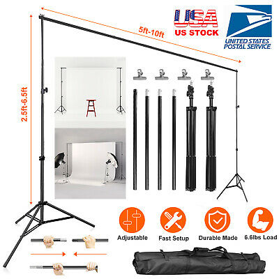 Photo Video Studio Backdrop Background Stand Adjustable Heavy Duty 6.5 x 10ft US