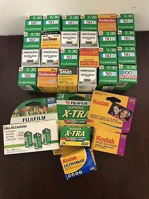 88 Rolls 35mm film lot Kodak fuji  Ilford e100 s e100g e100 provia 36 24 etc