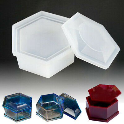 Silicone Hexagon Jewellery Storage Box Mold Resin Making Mould Casting Craft