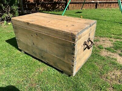Fabulous Antique Victorian Vintage Old Pine Chest / Trunk / Blanket Box