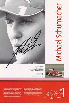 Michael Schumacher Authentic Signed F1 Book Page Aftal#198