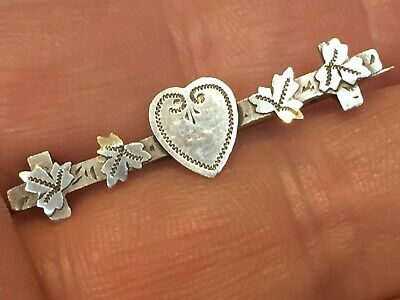 Antique Victorian Sterling Silver English Chester Hm 1900 Sweetheart Brooch/Pin