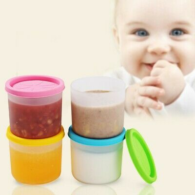 4pcs Baby Food Container Storage Set Freezer Reusable Silicone Feeding Leakproof
