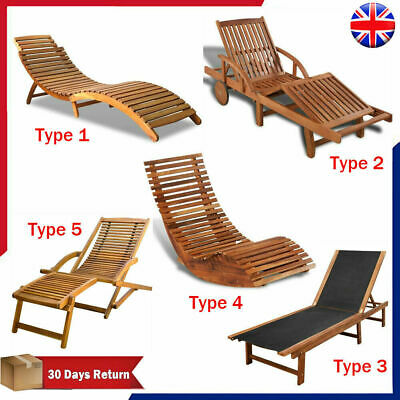 Solid Wooden Garden Recliner Sun Lounger Chair Bed Pool Chaise Outdoor Terrace