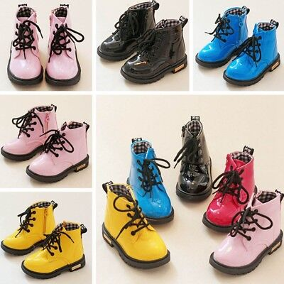 UK Kids Boys Girls Winter Warm Lace-Up Ankle Boots Martin Shoes Waterproof Face
