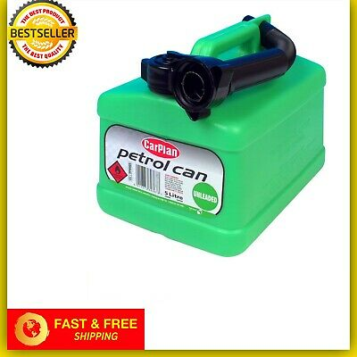 UNLEADED FUEL JERRY PETROL CAN  5 LITRE GREEN