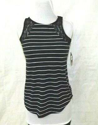 SO Womens Black White Stripe Lace Insert Tank Top Blouse Size S  New