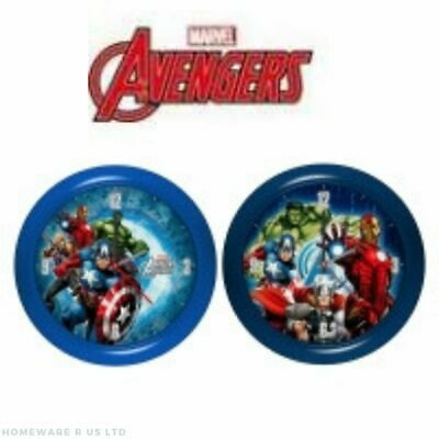 Boys Childrens Marvel Avengers Bedroom Wall Clock 25 Cm Red Or Blue New Boxed