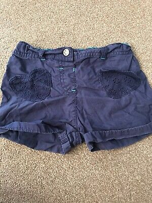 Girls Aged 2-3 Years Navy Shorts With Heart Motif. Cotton